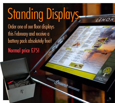 Order one of standing displays and get a battery pack FREE!