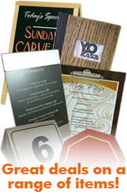 Special offers on menu covers, tabletop displays, signage, menu cases & more!