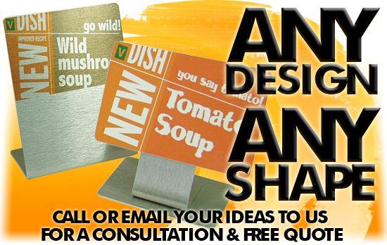 Tabletop signs, custom display, table display, tabletop sign, custom displays, table displays, table top display.