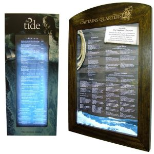 Menu cases, menu display stands, function board, wall mount display cases, window displays, function board display stands, menu display.