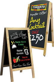 Chalkboards, a frame, outdoor sign, chalk pens, hotel sign, restaurant sign, pavement signs.