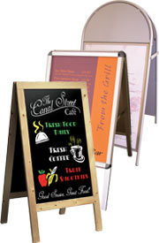 Chalkboards, a frame, metal picture frame, metal display board, outdoor sign, magnetic signs, chalk pens, hotel sign, restaurant sign, pavement signs.