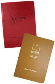 leather room folders, guest folders.