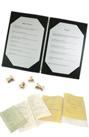Menu accessories, insertions, replacements & paper