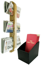 Menu holders, newspaper racks & menu boxes.