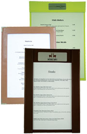 leather menu boards, menu displays, tariff menu board, leather menu.