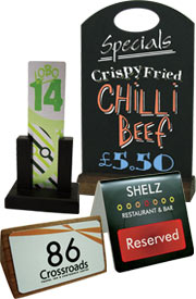 Table signs, tabletop displays, reserved signs & table numbers.