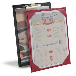 Hotel menu boards, menu display, printed inserts, print menu, paper insert, tariff menu board, clip board.