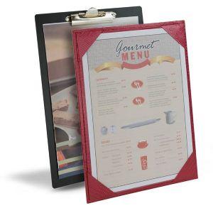 Hotel menu boards, menu display, printed inserts, print menu, paper insert, tariff menu board, clip board.