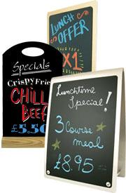 tabletop chalkboards, table blackboards, tabletop menus, signage.