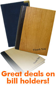 bill presenters, tariff menu boards, tariff board, wooden bill holder, metal bill presenter, leather menu board.