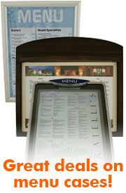 Menu cases, menu boards, wall displays, menu displays, menu frames, wall frames.