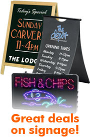 Chalkboards, standing signs, lighted displays, illuminated signs, menu boards, a frames, chalk a frame, led displays, led signs.