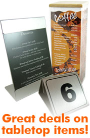 tabletop display, menu holders, tabletop menu, tabletop displays.