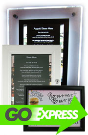 wall mounted menu cases, menu case, wall mount, free standing menu displays, menu display, outdoor case.