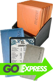 Menu covers, menu holders, menu displays, menu cases, wooden menus, printed menus, Wiltshire menus.