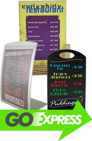 Menu holders, restaurant menu covers, hotel accessories, metal signs, bespoke wooden signs, table numbers.