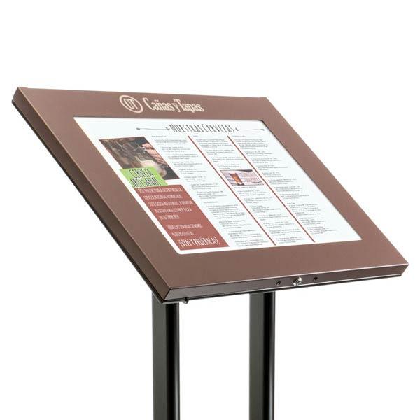 Wall mount display cases stands window displays for Porte menu restaurant exterieur