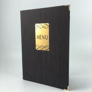 Pack of 15 dark wood effect A4 menu covers (IT452)