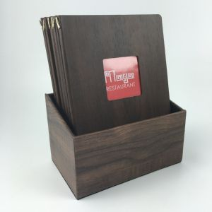 Boxset with 12 A4 wood style menus (IT460)