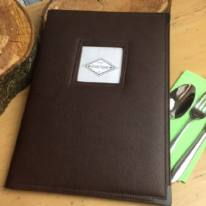 A4 Brown Faux Leather Menu With Window (IT510)