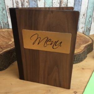 A5 Walnut Wood Menus (IT525)