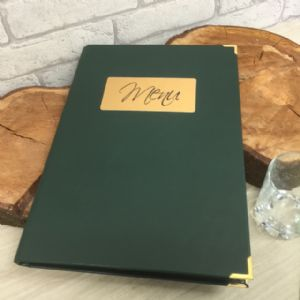 Green Faux Leather Menus A4 (IT539)
