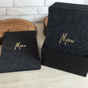 Glitzy Black Unica Menus A5 (IT547)