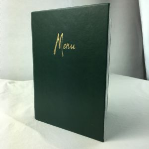 A5 green faux leather menus (IT589)