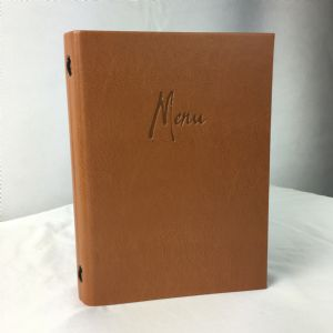 A5 Tan faux leather menus (IT591)