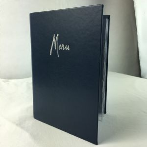 A5 dark blue faux leather menu covers (IT592)