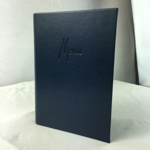 A5 Dark blue faux leather menus (IT593)
