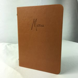 A5 Tan faux leather menus (IT594)