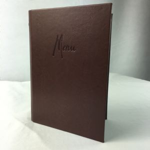 Dark brown faux leather A5 menu covers (IT596)