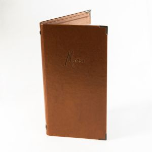 Bronze faux leather slim menu covers (IT599)