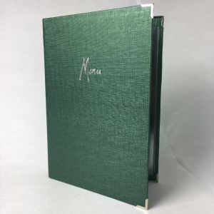 Green fabric textured A4 menu covers (IT606)