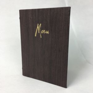 A5 dark brown Orchard menu covers (IT619)