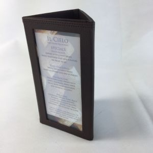 Brown faux leather 1/3 A4 Trifold(IT633)