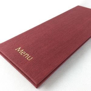 1/2 A4 Burgundy Wood Style Menus (IT636)