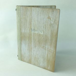 A5 White washed wooden menus (IT637)