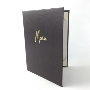 A5 Dark brown ostrich faux leather menus (IT639)