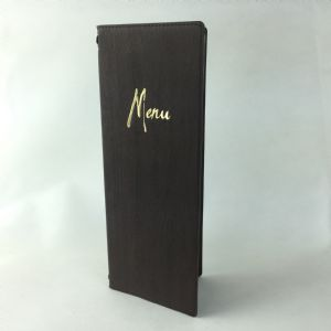 1/2 A4 brown wood effect menus (IT645)