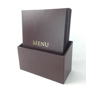 Brown faux leather style A5 menus boxset (IT654)
