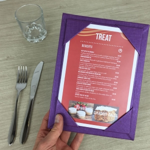 A5 Purple Monaco Menu Boards (IT103)