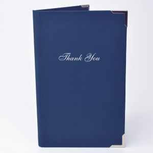 Touch bill presenter for hospitality with standard thank you by Menu Shop
