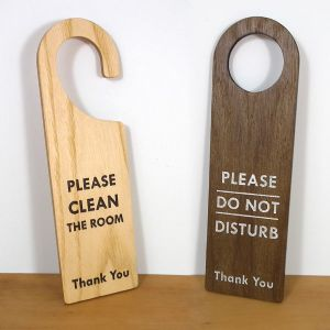 Wooden do not disturb signs
