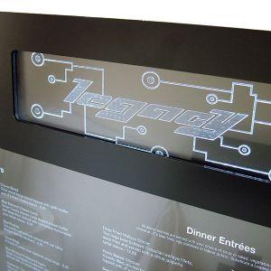 metal display case, restaurant signage, menu display, exterior display, standing case, standing display, menu case.
