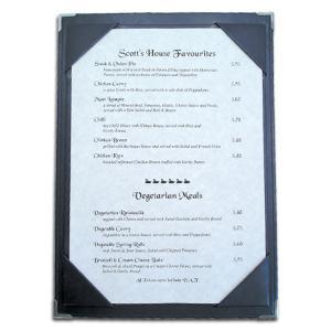 faux leather, menu boards, tariff menus.
