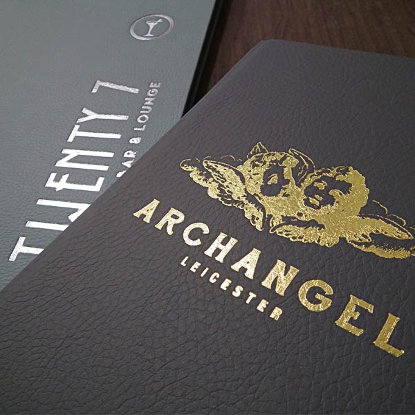 faux leather room folders, hotel folder, leather style folder, room information.