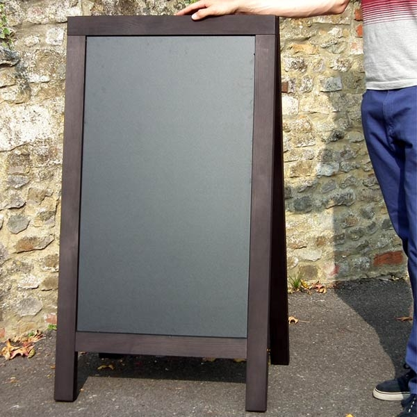 wooden A frames, pavement signs, A boards, chalk signs, outdoor signage, chalk a board, blackboards, chalkboards.